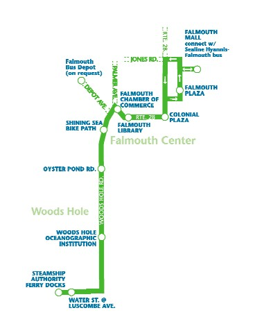 WHOOSH Trolley Service Map | Falmouth Chamber of Commerce | Cape Cod, MA